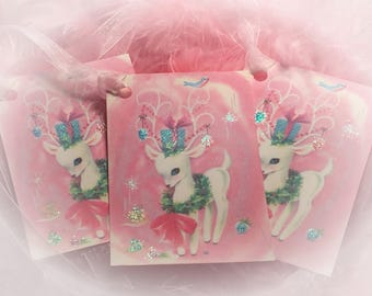 Set of 9 Pink Christmas Vintage Adable Reindeer and Pink Ribbons Gift Bag Art Tags  Xmas Tree Ornaments Shabby Chic Retro Greeting Cards