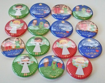 First Christmas Angels Wise Men Still Seek Him 1 Inch Flat Back Embellishments Buttons Flair Great for Bow Making