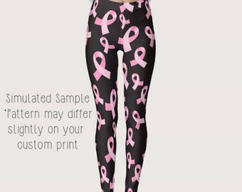 Pink Ribbon Breast Cancer Awareness Leggings, Yoga Pants, Exercise, Workout, think pink, Disease Awareness, Campaign, Prevention, cure  -BC1