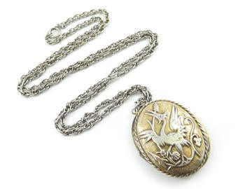Vintage Bird Locket Necklace, Chain