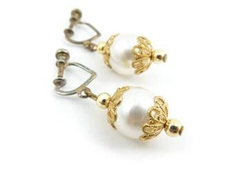 Vintage Faux Pearl Earrings, Dangles