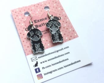 Black Poodle earrings,Black Poodle gift, dog lover gift, gift for her, fun earrings, silver plated wires, nickel free, uk seller, Norfolk