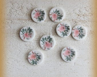 Set of 8 porcelain buttons of 18mm