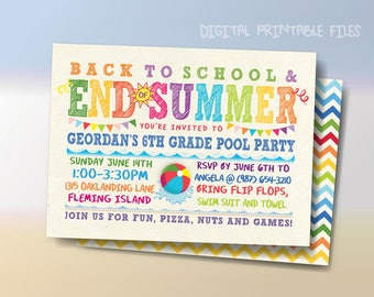 Back to School Pool Party,  End of Summer, Printable Party Invitation, Chalkboard