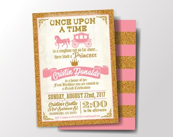 Princess Party Invitation, Fairy Tale Birthday Party, Once Upon a Time, Horse and Carriage, Pink and Gold, Digital Printable File