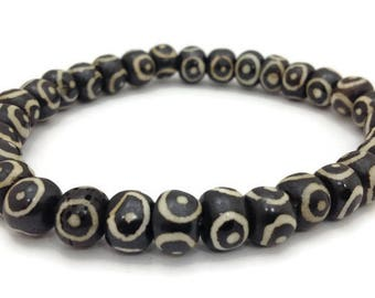 Tibetan Evil Eyes Bone Stretch Bracelet