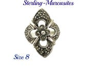 Sterling Silver Marcasite Ring, Vintage Floral Antique Finish Ring, Size 8, Gift idea, Gift Box
