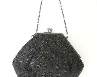 ON SALE! Black Beaded Evening Bag, Vintage Sparkly Beaded Handbag