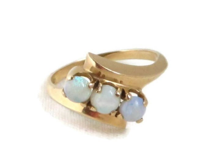 Vintage 10K Gold Opal Ring, Three Stone Natural Opal Ring, Size 6