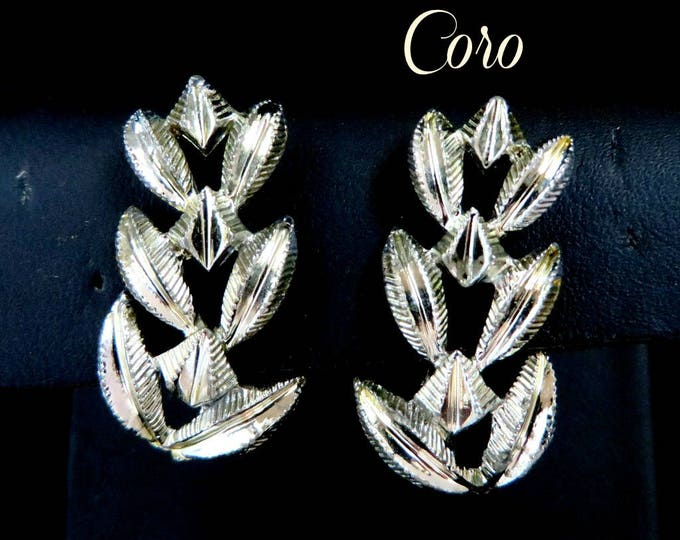 Coro Leaf Earrings, Vintage Silver Tone Clip-on Earrings, Holiday Gift for Her, FREE SHIPPING
