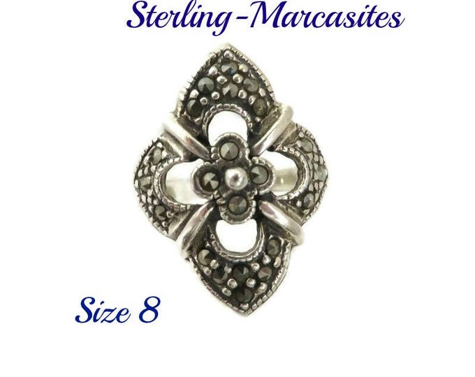 Sterling Silver Marcasite Ring, Vintage Floral Antique Finish Ring, Size 8, Gift idea, Gift Box, FREE SHIPPING