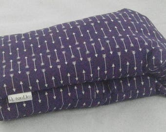 Microwave heating pad. WASHABLE COVER Barley/Flax Heat Bag, like corn rice wheat. Plum White Arrows by UptonElm