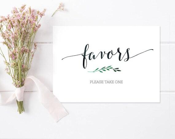 Printable Favors Sign INSTANT DOWNLOAD