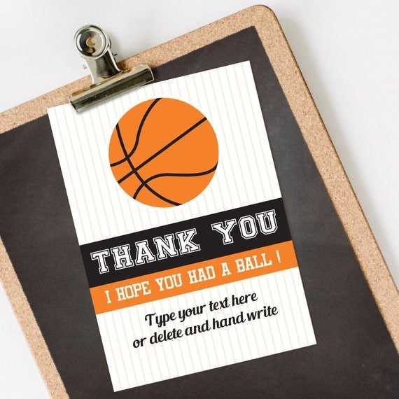 Basketball Thank You Card INSTANT DOWNLOAD