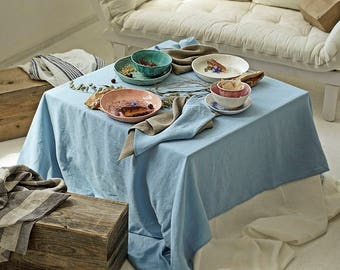 Linen Tablecloth Natural Stone Washed Sky Blue