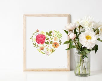 Art print blooming love, print with heart and flowers, illustration by Joannie Houle