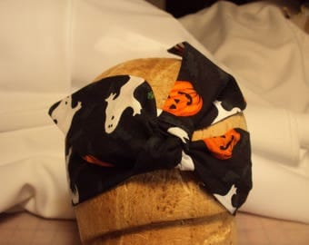 Halloween hair tie, ghosts and pumpkins, hat band, neck scarf, purse tie