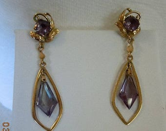14K Color Change Alexandrite Pierced Earrings - Synthetic Alexandrite from the 1960's