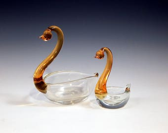 Vintage 1960s Glass Swan Ornaments