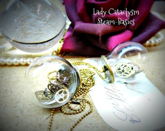 "Steampunk , collier -pendentif  ""bulle de temps """