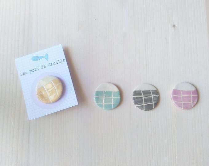 Pin badges ceramic pastel Plaid