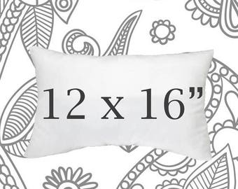 SALE ENDS SOON Faux Down Pillow Insert, 12 x 16 Inch Pillow Form, Pillows, Throw Pillows, Down Pillows