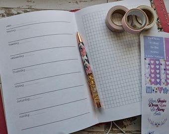 TN Horizontal Week with Grid,Lined,Blank or Dot Grid Paper, Travellers Notebook Insert, , handmade, planner, 120gsm paper, wb,wdg,wg,wl