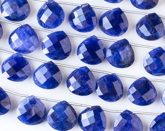 Gemstone Briolette Beads - Sapphire - Faceted Hand Cut - Grade AA Quality - 14mm  - Top Drilled Horizontal 1mm - 01 pieces per order