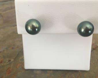 Estate 14KT Yellow Gold & Round Black Tahitian Pearl Earrings Post Stud 9.5 mm