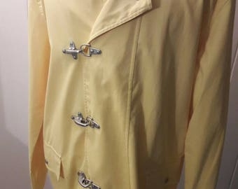 80s Yellow Raincoat XL - Canary Yellow - Beautiful Vintage Coats & Jackets - Rain Gear Outerwear - 1980s Winter  Spring Clothes Clothing