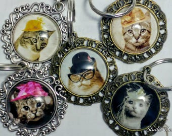 Hipster Cat Keychain - Cats in Hats Key Ring - Under 10 Gift - Tabby Cat - Purse Charm - Bag Charm - Cat Lover - Cosplay - Cat Portrait