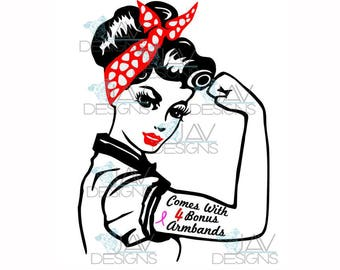 Rosie the Riveter SVG , BONUS 4 svg Armbands and Extra Bandanna, PinUp Rosie PNG, Rosie, Rosie Cut File, Silhouette, Cricut, Rosie Diy Decal