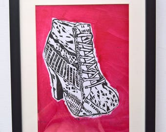 Can You Even Walk In Those? (Black & Red) A4 Linocut Print