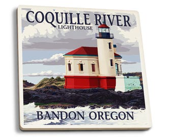 Bandon OR - Coquille River Lighthouse - LP Artwork (Set of 4 Ceramic Coasters)