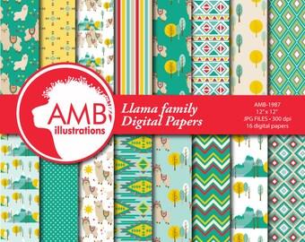 Llama Digital Papers, Llama digital backgrounds, Alpaca pattern papers, Alpaca digital papers for card making and crafts, Comm Use, AMB-1987