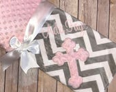 Cross - Personalized Minky Baby Blanket - Gray Chevron with Pink Minky - Embroidered Cross