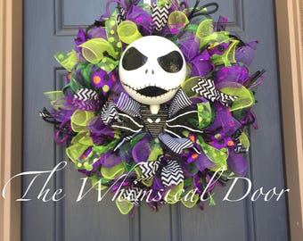 Jack Skellington Wreath Nightmare Before Christmas Wreath Jack snd Sally Wreath Pumpkin King
