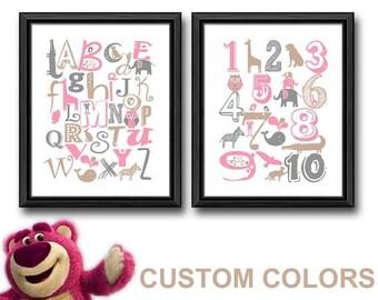 animal alphabet nursery, animal alphabet girls room decor, girl nursery alphabet art, abc baby wall decor, animal alphabet girls room print