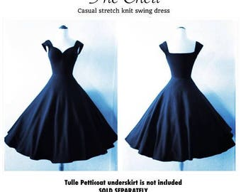 Sale! Navy Blue Pin Up Swing Dress, Multiway Capped Sleeves + Sweetheart Neckline by Hardley Dangerous Couture, Retro