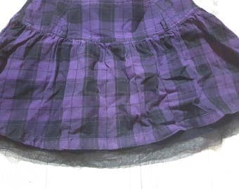 Beautiful plaid skirt, black, purple, lilac, lavender, summer, party, schoolgirl, vintage, retro, rustic, cheap clothes, birthday, lace