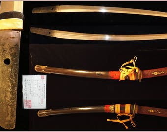 Signed Wakizashi Muromachi period with Edo restored koshirae