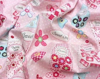 Benartex Sweet Shoppe Pink 3643 Sweetie Jars Patchwork Quilting Dressmaking Fabric