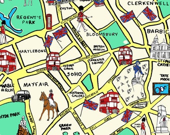Makower Inprint Queen's 90th birthday range London On the Map 2158 Coloured Patchwork Quilting Sewing Fabric