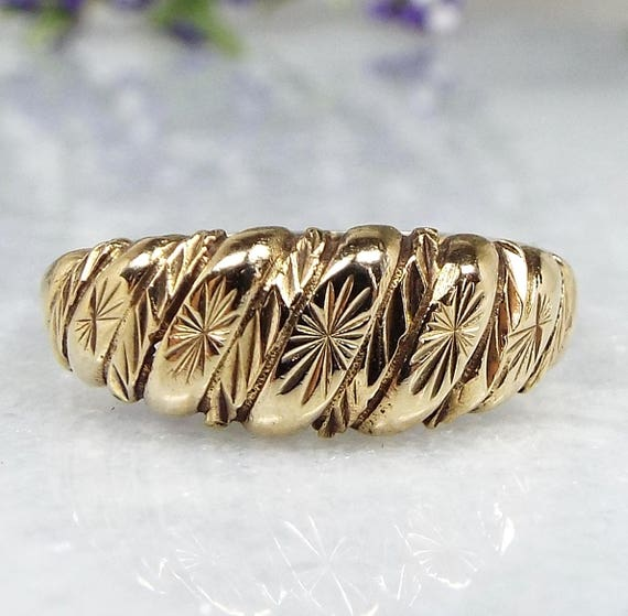 Vintage 1988 9ct Yellow Gold Ornate Engraved Star Twisted Rope Band / Size N 1/2