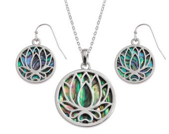 Tide Jewellery Paua Shell Lotus Flower Pendant & Earrings Gift Boxed
