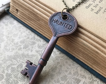 Halloween Skeleton Key Necklace, Haunted, Fall, October, Autumn, Halloween Jewelry, Vintage Inspired, Key, Spooky, Macabre, Gothic, Goth