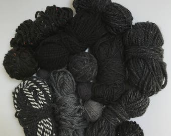 Deluxe Yarn Sampler // Curated Yarn Bundle // Weaving Crafting School Home Projects Party Decor // Black & Charcoal Multi Pack // Stash Sale