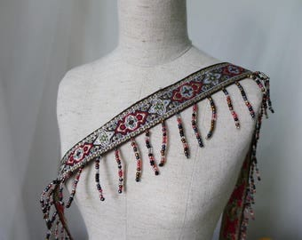 Retro Jacquard Ribbon Ethnic Style Beaded Fringe Trim With Tassels for Jewelry, Costumes, Garments, Crafts