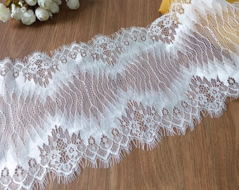 NEW French Chantilly Lace Trim in Ivory for Wedding Gown, Bridal Shawl or Chantilly Cap Veil