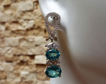 Blue Apatite, Sterling Silver and Pave CZ drop earrings